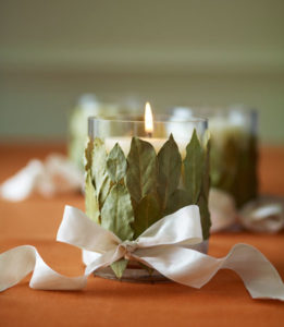 thanksgiving centerpieces - Bay Leaves Votive