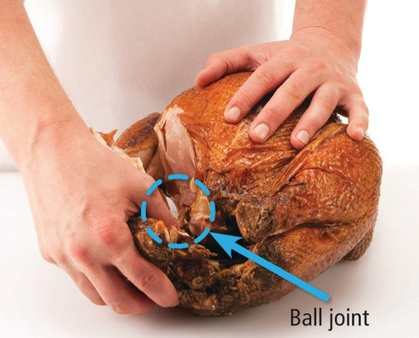 Set down the knife and pull the leg away from the bird until the ball joint that connects it to the carcass pops out of the socket. (If the turkey is too hot to handle, use a clean, dry towel to protect your hands.)